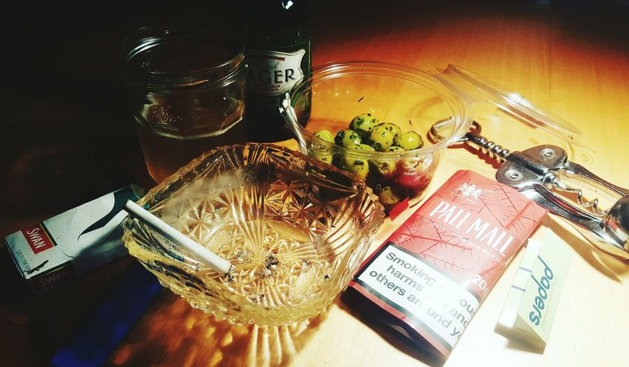 Beer...cigarettes...and olives...