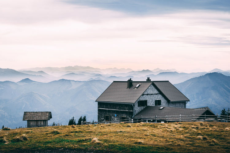 Mountain Architecture Sky Cloud - Sky Built Structure House Landscape Beauty In Nature Scenics - Nature Building Mountain Range Grass Building Exterior No People Environment Nature Sunset Tranquil Scene Tranquility Rural Scene Reisalpe
