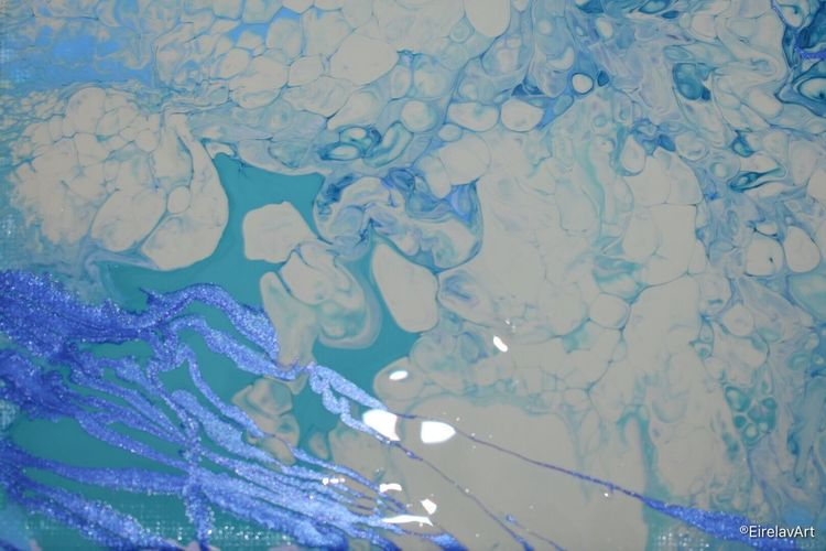 Sapphire Sea 💙🌊✨ EirelavArt Check This Out NikonD3400 Painting Abstractart FluidArt DirtyPour Backgrounds Blue Full Frame Pattern No People Textured  Close-up