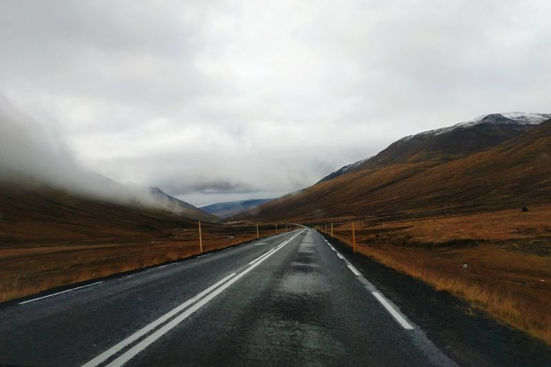 Iceland Travel Destinations Travel In Iceland Ring Road Route 1 North Iceland Fall September Fog Mountain Road Winding Road Snow Road Trip Asphalt Fog Dividing Line Journey Highway Empty Road vanishing point Two Lane Highway Car Point Of View Straight Diminishing Perspective