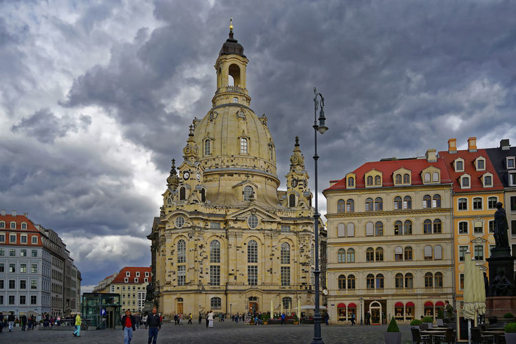 Dresden / Germany Frauenkirche Dresden Architecture Building Exterior Built Structure City Clock Tower Cloud - Sky Day Large Group Of People Outdoors People Place Of Worship Religion Sky Spirituality Tourism Weltkulturerbe