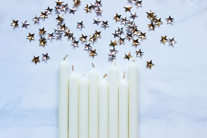 Celebrate! Background Birthday Bright Candle Celebrate Concept Decorations Event Festive Fun Greeting Card  Holiday New Years Styled Top View Wax Whimsical White
