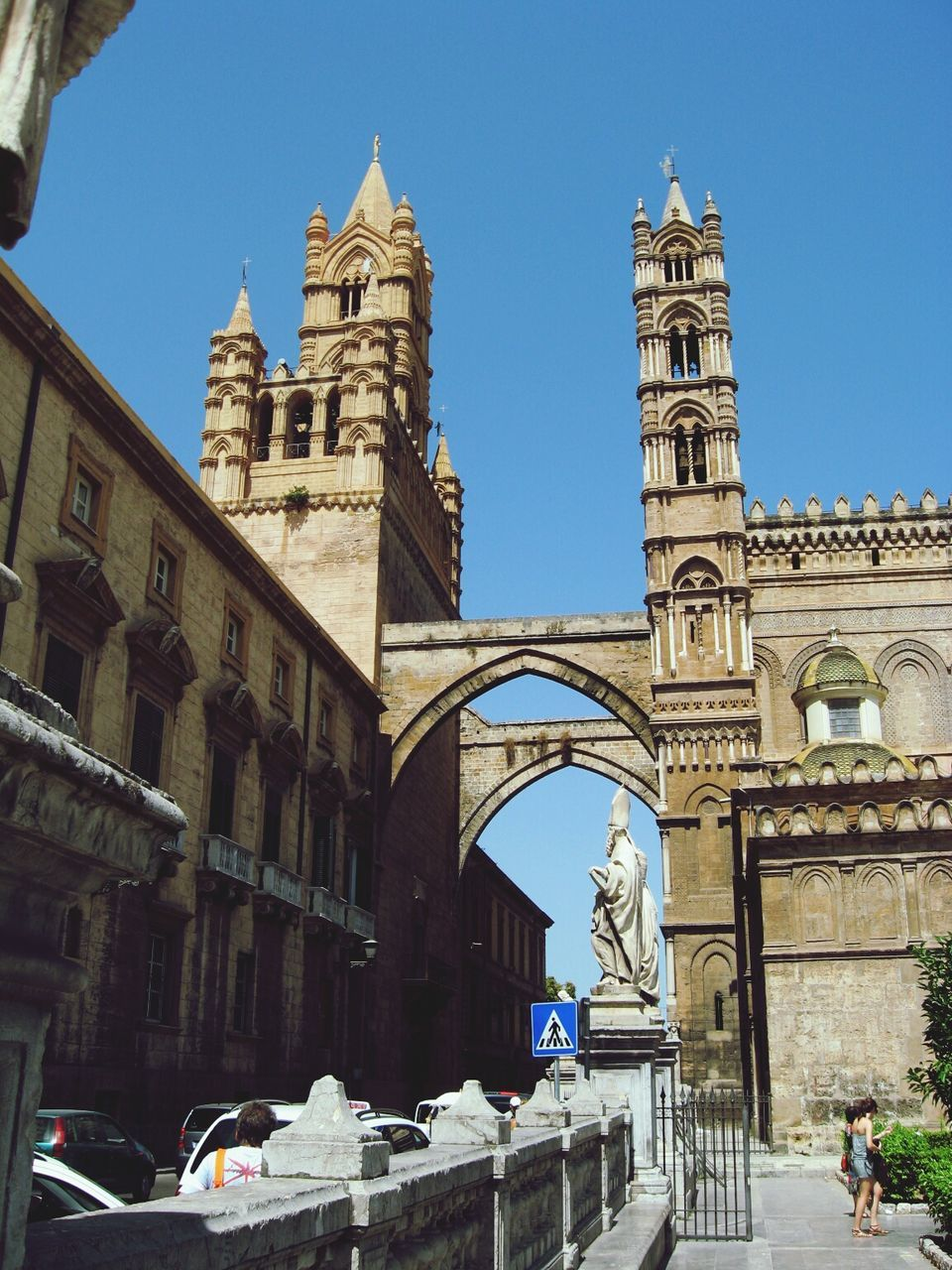 Low Angle View Of Palermo Cathedral Against Clear Sky