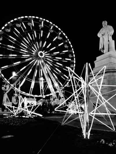 Ferris Wheel Night Arts Culture And Entertainment Multi Colored Christmas Lights Architecture Cavour Illuminated Ancona Marche Italia