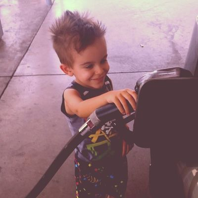 First time pumpin gas. Soon I will just have him do it for me.