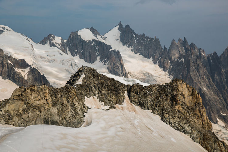 Summer view of the glacier from punta helbronner of monte bianco, located between france and italy