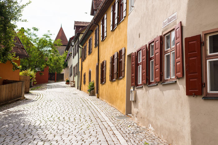 Architecture Building Building Exterior Built Structure City Day Diminishing Perspective Dinkelsbuhl Empty Façade Narrow No People Outdoors Residential Building Residential District Residential Structure Sky The Way Forward Walkway
