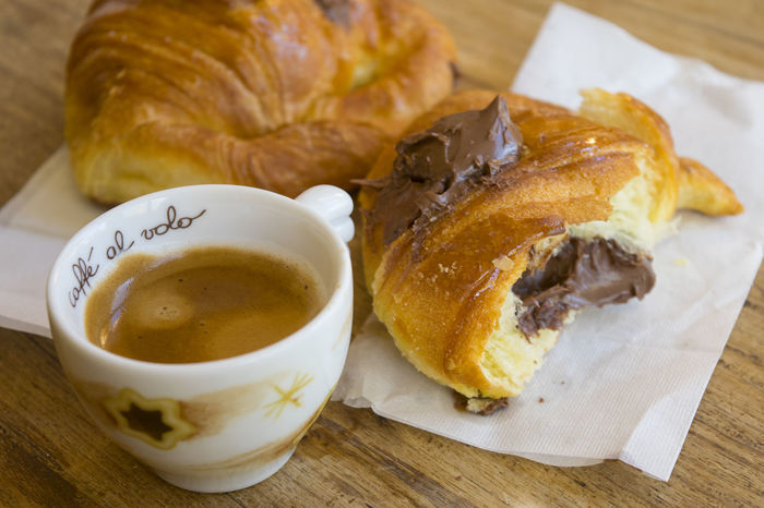 espresso coffee and chocolate croissant Breakfast Caffè Chocolate Coffee Cornetto Croissant Espresso Horn