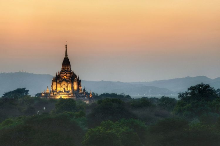 Sunset over Gawdawpalin Pagoda Religion Architecture Travel Sunset Landscape Arrival Travel Destinations Ancient Nature