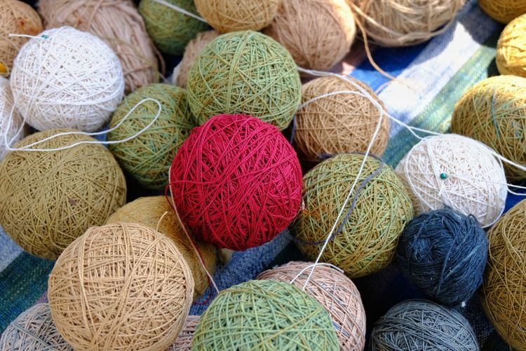 Cotton thread balls Fabric Cotton Thread Cotton LINE Photo Close-up Nature New Beautiful Red Green Handmade Nature Round Ball Beautiful New Multi Colored Linen Woven