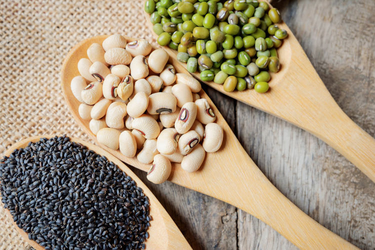 Beans Desk Diet Seeds Soybean Food Food And Drink Freshness Healthy Healthy Eating Hemp Sack High Angle View Indoors  Ingredient Legume Family Mung Nature Nutritious Omega Protein Raw Food Sesame Variation Wooden Wooden Spoon