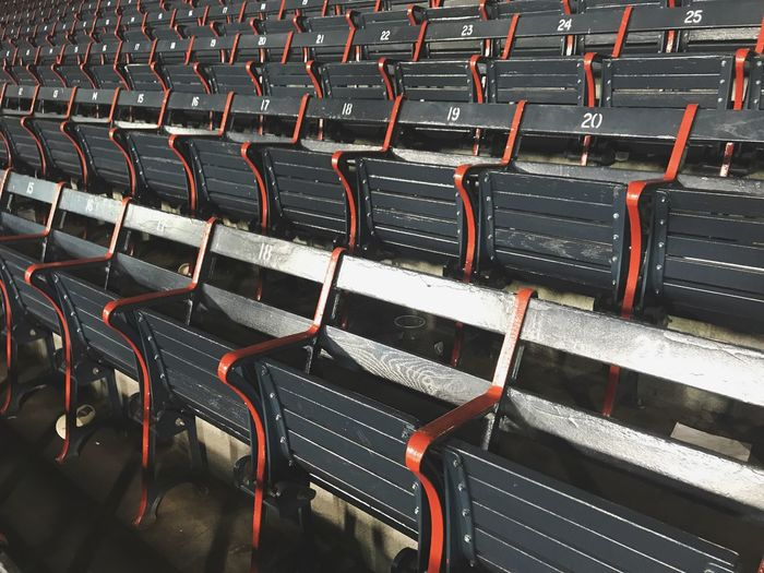 Boston Red Sox's Fenway Park. Baseball Field Fenwaypark Seat In A Row Chair Empty No People Absence Repetition First Eyeem Photo