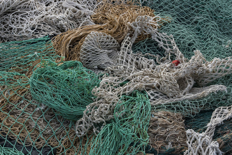 High angle view of fishing nets