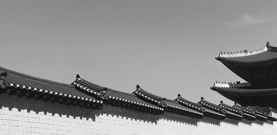 Low angle view of traditional building against clear sky