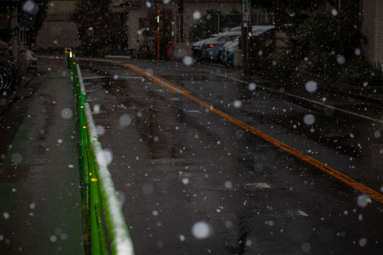 Road in tokyo city during winter