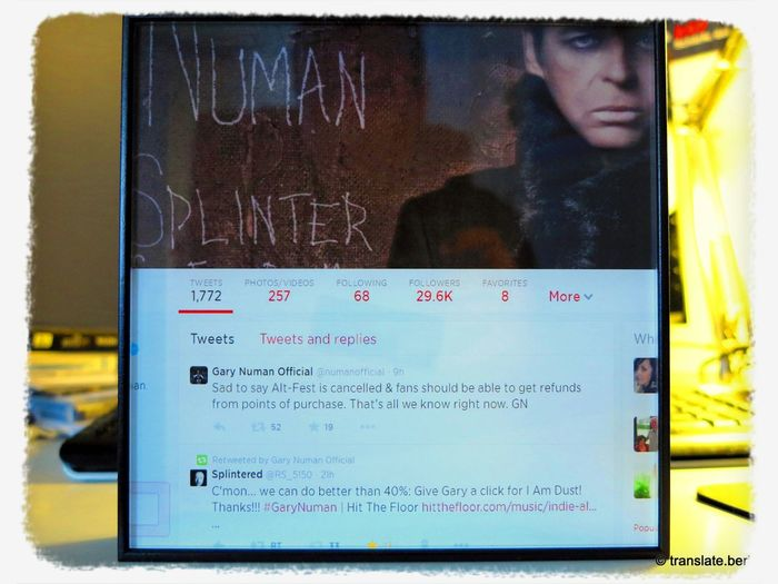 My Gary Numan retweet printed on acrylic glass ☺ Gary Numan