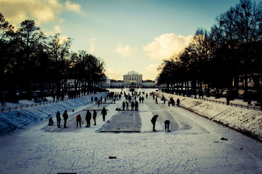 Ice Large Group Of People Nymphenburg Nymphenburg Palace Nymphenburger Kanal People People Having Fun Real People Silhouette Snow Snow ❄ Water Winter Dramatic Sky HDR High Dynamic Range Adapted To The City Shades Of Winter Adventures In The City