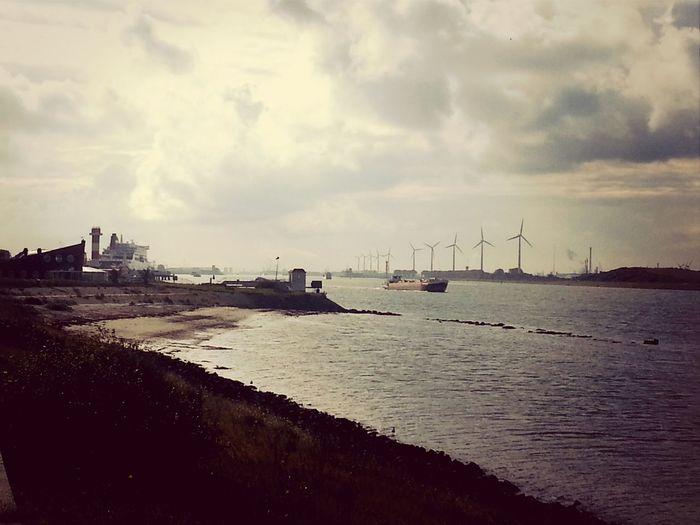 Nieuwe Waterweg Port Of Rotterdam Sundaymorning Dutch Clouds
