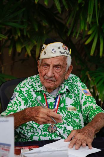 One of the survivors of Pearl Harbor Senior Adult Senior Men Portrait One Person Green Color Real People Looking At Camera