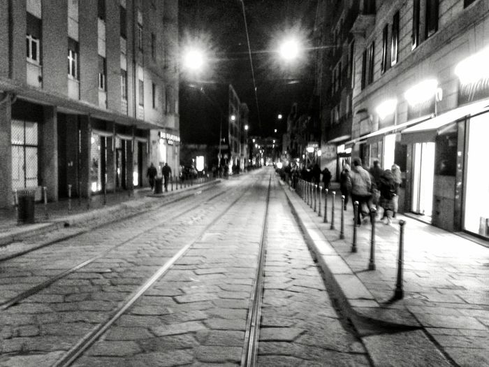 """""""Tram track"""". Street Photography Street Of Milano Tramtracks Night Photography Smartphone Photography Black And White Bianco E Nero B&w Mobile Photography S3mini Camerazoomfx Eyeemfilter F3 lev 2 / Learn & Shoot : After Dark"""