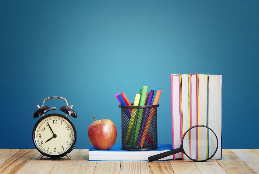 Study Time Apple Desk Home Learning Library Morning Alarm Clock Back To School Book Class College Concept Educational Time Elementary Magnifying Glass Object Pen Red Apple School Supplies Stacked Study Study Space Time