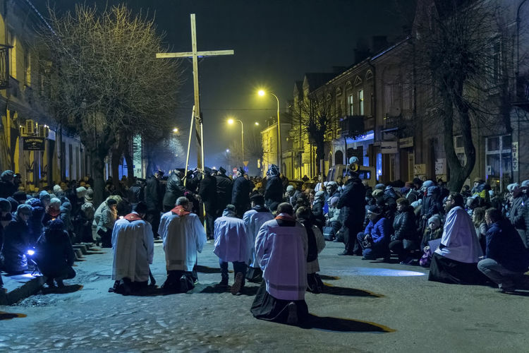 Christianity Cross Easter Good Friday Jesus Christ Spirituality Belief Catholics Celebration Event Crowd Illuminated Kneeling Large Group Of People Lent Night People Prayers Priests Real People Religion Religious  Toghetherness Traditional Via Dolorosa Way Of The Cross The Photojournalist - 2018 EyeEm Awards