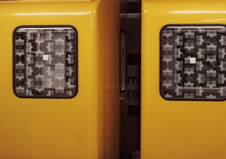 Close-up of yellow car window
