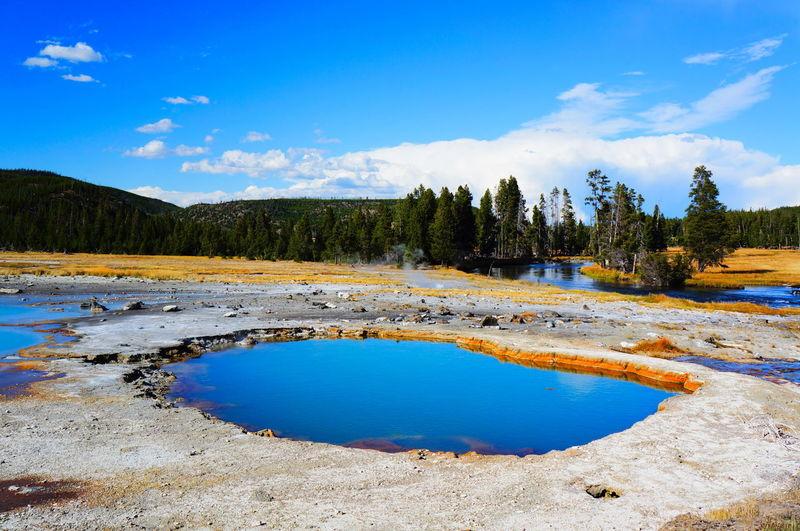 Hot springs against blue sky