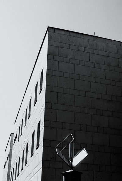 Analogue Photography Film Architecture Brick Brick Wall Building Building Exterior Built Structure City Clear Sky Day Film Photography Ilford Ilford Pan F50 Illuminated Lighting Equipment Low Angle View Nature No People Outdoors Residential District Sky Wall Wall - Building Feature Window