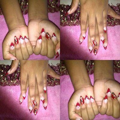 Stilettonails Red Pearls