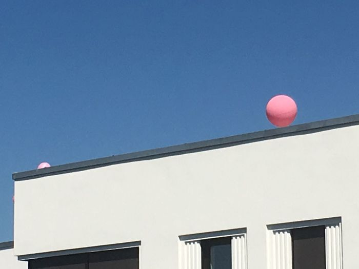 Blue, pink, white No People Pink Ballon White Blue Pink Balloon Clear Sky Outdoors Building Exterior Copy Space Built Structure Mid-air White Color