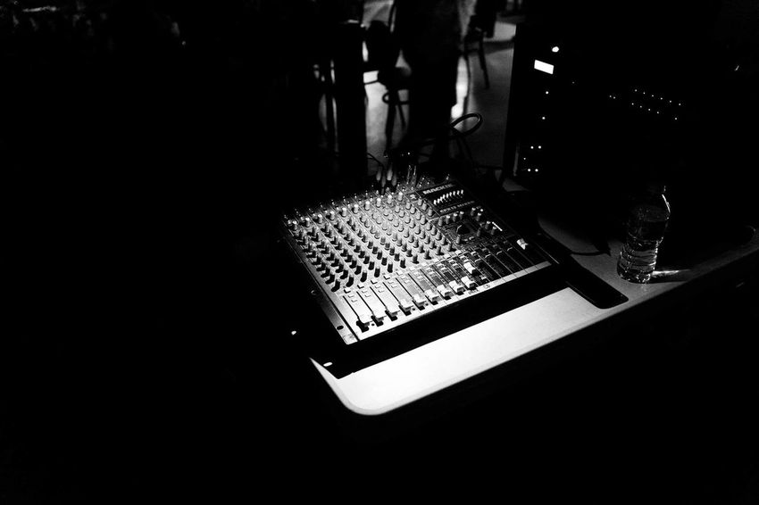 Monochrome Black And White Editorial  Working Arthistory Noir Mixer Localmusic Music Music Concert Concert Stage Light Live Event Sound Mixer Sound Recording Equipment Recording Studio Stage - Performance Space Concert Hall