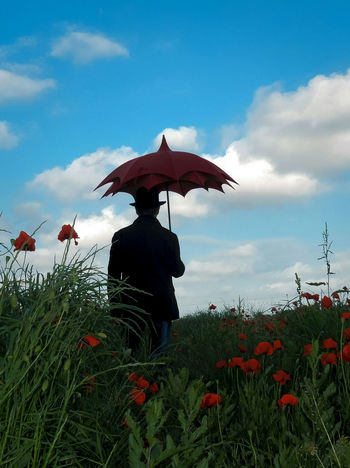 Man with umbrella Flower Poppy Red Cloud - Sky Sky Outdoors Day Adult One Person One Man Only Flower Head Only Men Lovely Tuscany Light Colors Photo Dream Italia Live Gildo Masini Fuji X-T1 Eyem Vision Silhouette