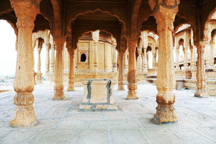 Ornate Columns In Jaisalmer Fort At Rajasthan