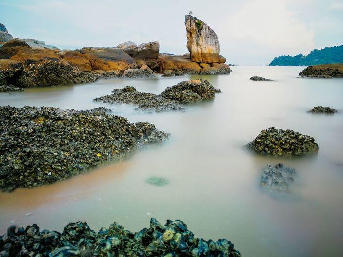 Rock - Object Water Landscape Outdoors Horizon Over Water Nature Day Beauty Barnacles Rock Sea Island Beach Beautiful Background Malaysia Perak Coastline Travel Destinations Scene Pangkor Scenery Scenic Vacations Tranquility