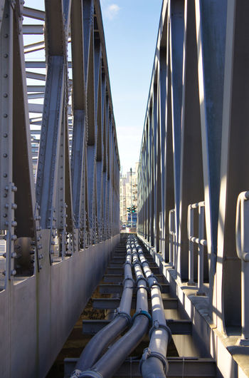 Architecture Built Structure Sky Nature Day In A Row Transportation No People Connection Bridge The Way Forward Sunlight Diminishing Perspective Bridge - Man Made Structure Metal Building Exterior Direction Outdoors Railing City Office Building Exterior Skyscraper