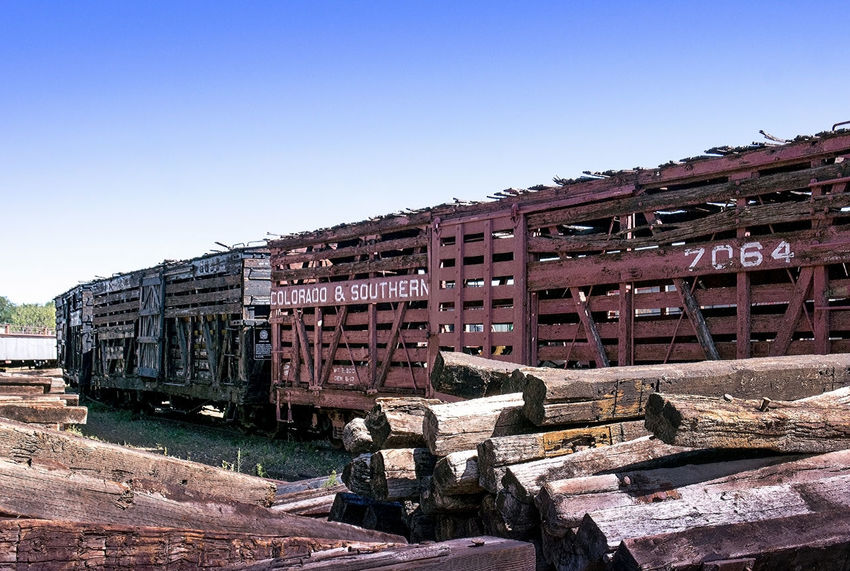 old box cars are on display to view at the Colorado train museum in Golden Colorado Learning USA America Clear Sky Colorado Train Museum Day Display Editorial  Education Nature No People Old Outdoors Railroad Ties Sky Train Transportation