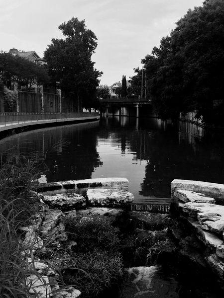Riverwalk Water Reflection Sky Tranquil Scene Outdoors City Life Blackandwhite Satx EyeEmNewHere