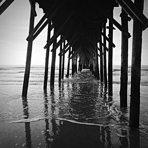 OceanLovers Blacknwhite NorthCarolinaShores Life Is A Beach Grayscale it was really a purple morning.