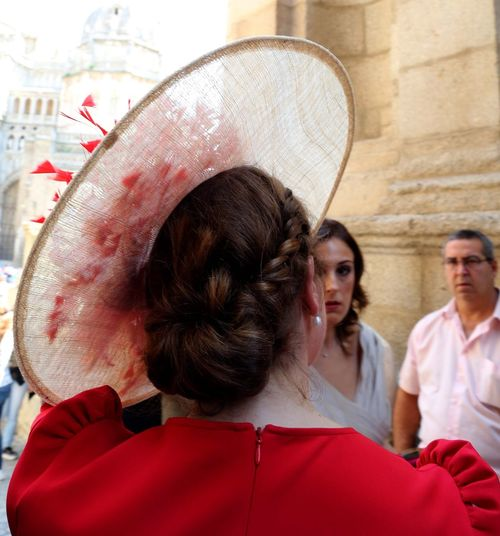 Wedding Guest - Toledo, España Style Stylish Toledo, España Stand Out From The Crowd Toledo, España Headshot Women Adult Portrait Hat Red Incidental People Hairstyle