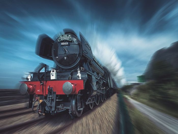 The Flying Scotsman Train Locomotive Railway Flyingscotsman Motion Speed Steam Train Outdoors Travel Traveling Transportation Journey Photography Mountain Landscape EyeEm Best Shots Rail Transportation Wide Angle Sky Tracks Train - Vehicle Tones Attraction Movement Transport