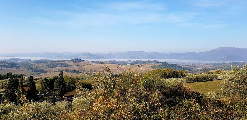 panorama umbro con nebbia nella vallata Panorama Panoramic Photography Panoramic Paesaggio Collina Nature Photography Umbria, Italy Italy🇮🇹 Tree Water Sky