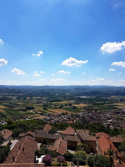 Agriculture Cloud - Sky Landscape Day No People Sky Outdoors Nature Blue Castello Di Magliano Alfieri Langhe Piedmont Italy Travel Destinations Scenics Point Of View Freshness Aerial View From Top To Valley Architecture Mountain
