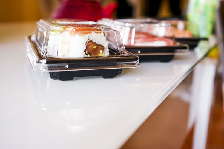 Close-up of ice cream served on table in restaurant
