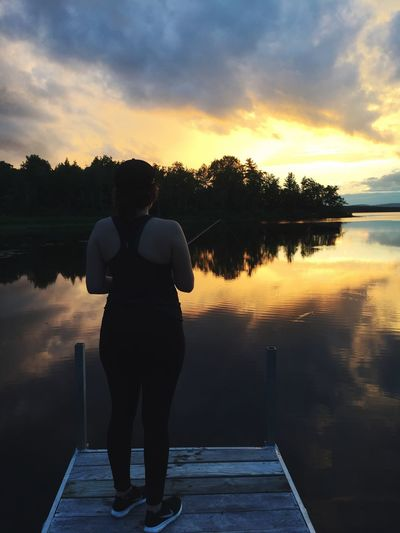 Life on the lake Fishing Maine Life In Maine Sunset Maine Sunset ThewaylifeshouldbeOne Person Standing Rear View Sky Nature Lake Water Beauty In Nature Women Full Length Outdoors Scenics Silhouette Real People Lifestyles Leisure Activity Tree Day Adult