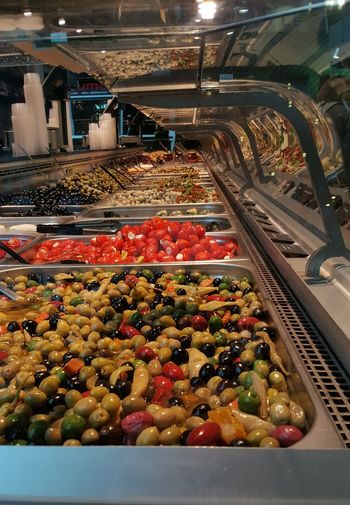 Various vegetables on display at market