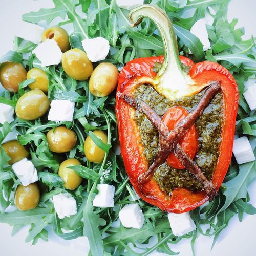 Piemontese Pesto red pepper Red Pepper Stuffed Pesto Anchovy Anchovies Rocket Salad Feta Cheese Olives Healthy Eating