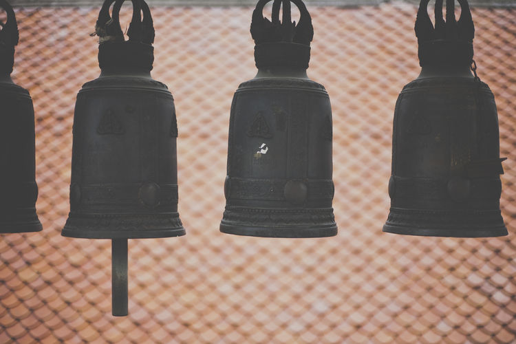 bells at a Buddhist temple in Thailand Bell Bells Buddha Buddhism Buddhist Buddhist Temple Church Focus On Foreground No People Roof Terracotta