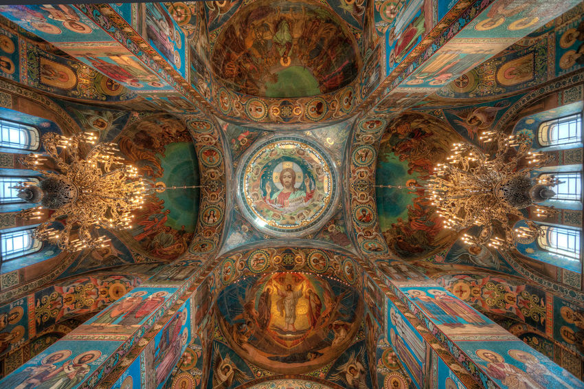 Ceiling Gothic Style Gothic Mosaic Ceiling Ceiling Lights Icon God Orthodox Church Orthodox Russia Saint Petersburg