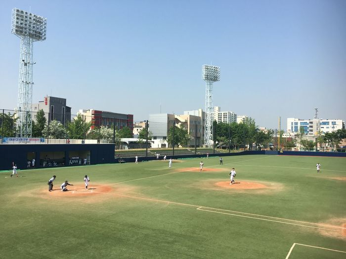 Sports Civic Playground Korea Baseball Stadium Baseball Sky Sport Group Of People Architecture Building Exterior Clear Sky City Playing Outdoors